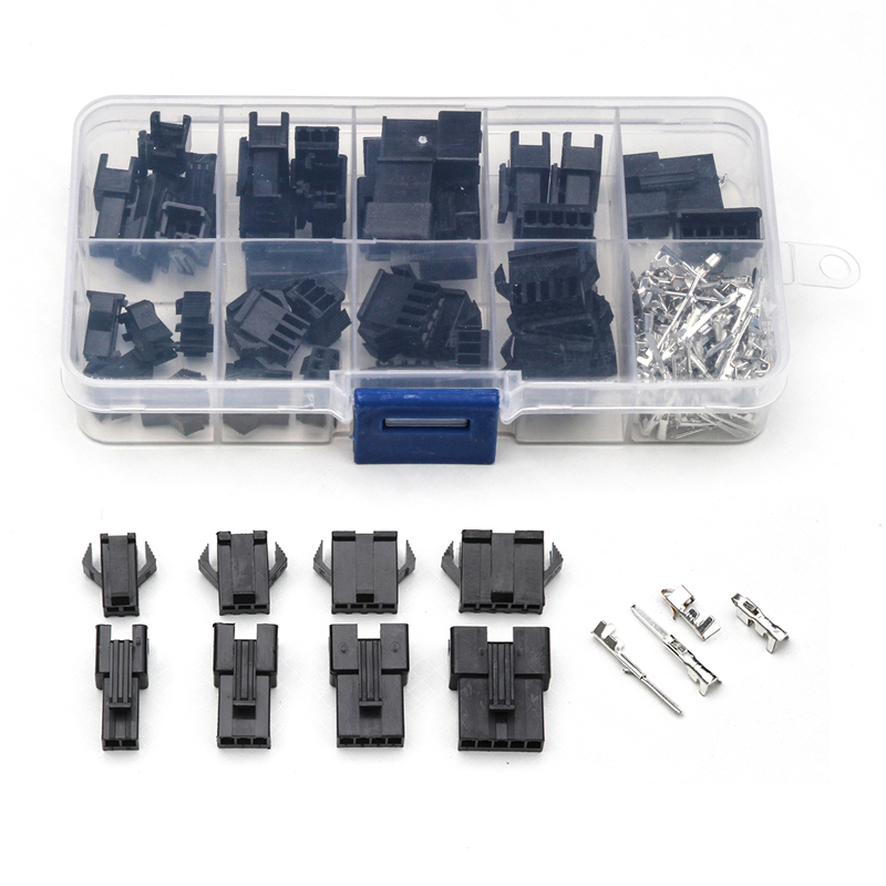 YT 200PCS 2/3/4/5 Pin Headers Dupont Housing Connectors Male Female Jumper Cable Wire Connectors Terminals Plug Socket With Box 200pcs dupont jumper wire cable housing male pin contor terminal 2 54mm new