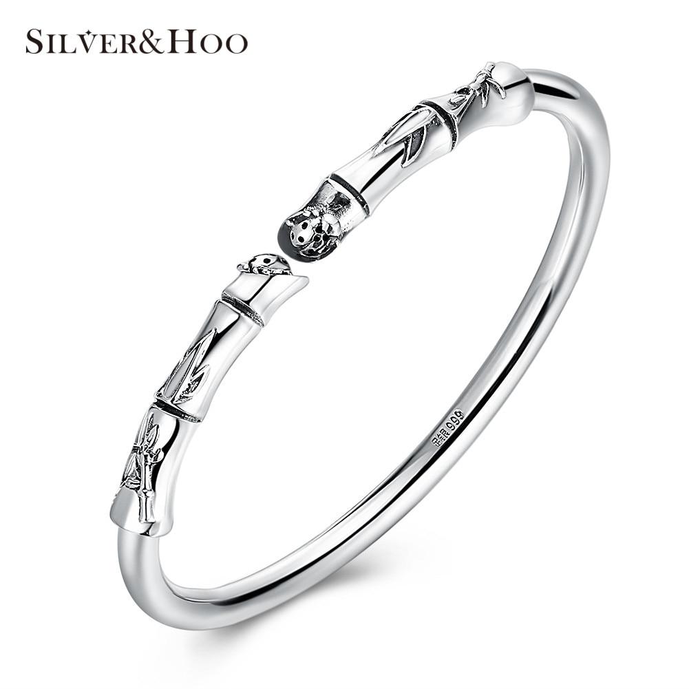 все цены на SILVERHOO 100% 999 Sterling Silver Plant Bamboo Bangles Bracelets Antique Fine Jewelry Gift for Women Charm Elegant Bracelet онлайн
