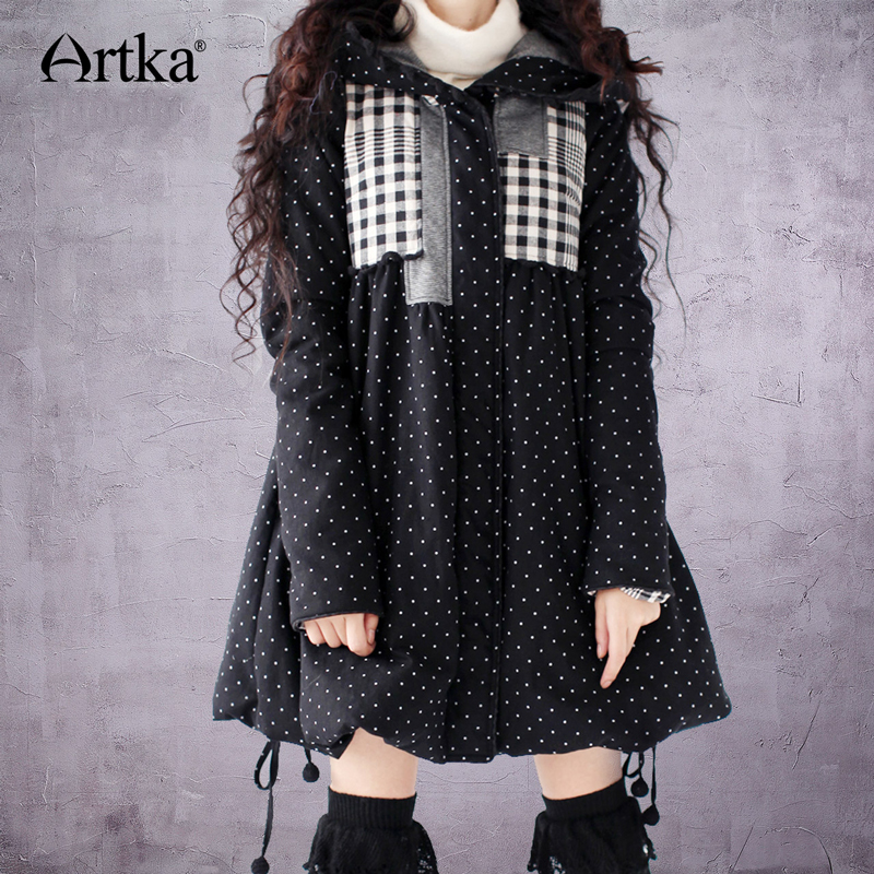 ARTKA Women's Winter   Parka   Hooded Jacket Coat 2017 Patchwork Plaid Overcoat Female Puffer Jacket A-Line Women's Outerwear A09486
