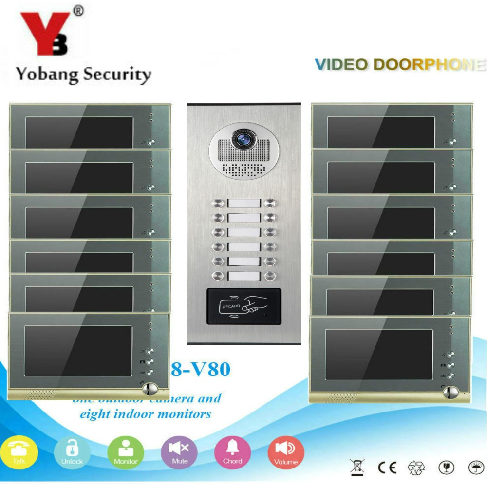 YobangSecurity Video Door Intercom 7Inch Video Door Phone Doorbell Intercom System RFID Access Door Camera For 12 Unit Apartment digital electric best rfid hotel electronic door lock for flat apartment
