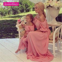 2016 Summer Mother Daughter Dresses Bohemian Beach Family Matching Clothes Off Shoulder Chiffon Long Dress Family Fitted