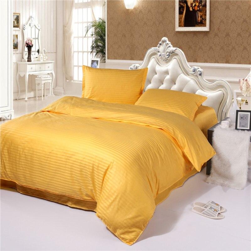 Cinq étoiles hôtel couleur Pure 100% coton ensemble de literie plat/drap housse couette ensembles linge de lit Satin housse de couette + drap + taie d'oreiller