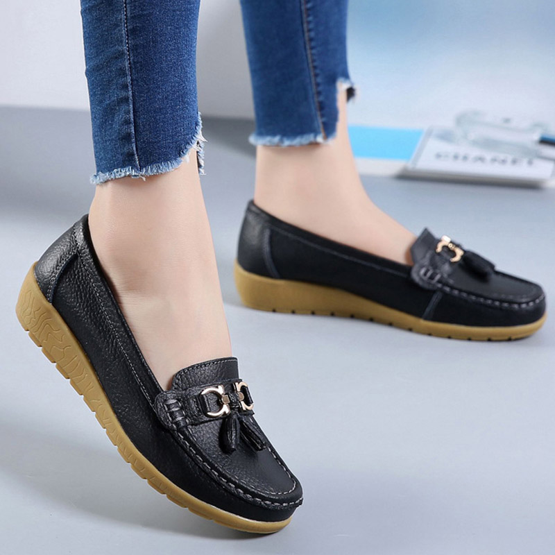Flat shoes women Genuine leather Fashion casual Superstar ladies loafers fringe solid female shoe Soft Plus size 42 44 in Women 39 s Flats from Shoes