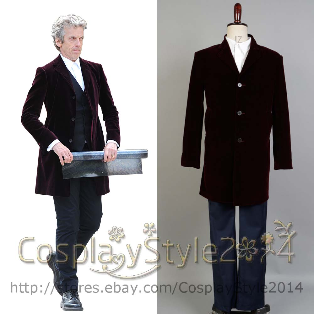 Who is 12th Doctor Who Peter Capaldi Cosplay red  Trench Coat, Pants, Shirt, Vest Full Set Halloween Carnival costume For Adult