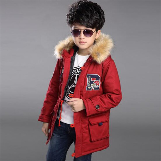 2016 New Arrival Hot sale Boys Autumn  Winter Thick Warm Cotton Down Parkas Solid Casual Windproof Jackets Kids Winter Outwears