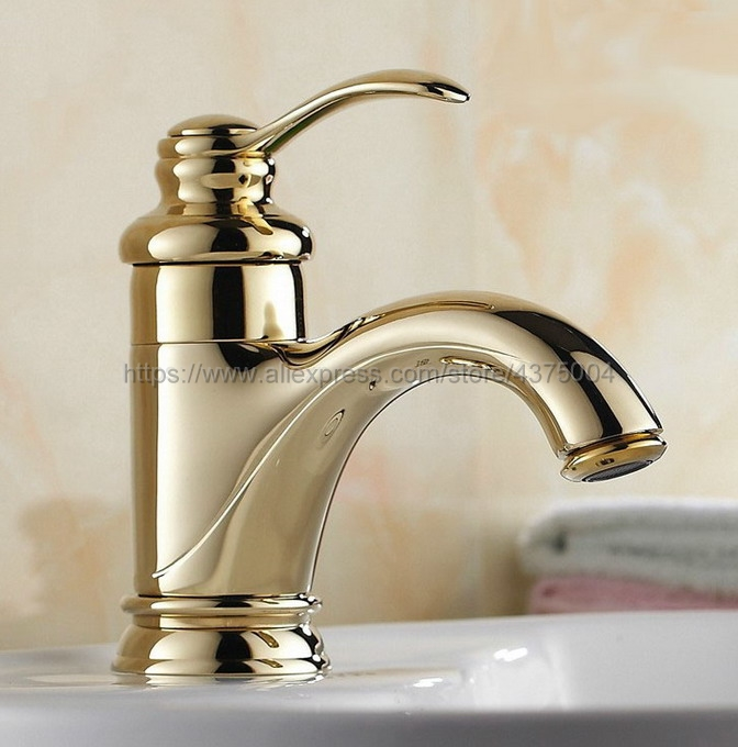 Deck Mounted Luxury Gold Color Brass Single Handle Hole Bathroom Sink Mixer Faucet Hot and Cold Water Mixer Tap Nnf121Deck Mounted Luxury Gold Color Brass Single Handle Hole Bathroom Sink Mixer Faucet Hot and Cold Water Mixer Tap Nnf121