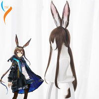 Tomorrow's Ark Amia Mixed Color Gold Long Rabbit Ears cos anime wig Halloween Carnival Party hair Heat Resistant Synthetic Hair
