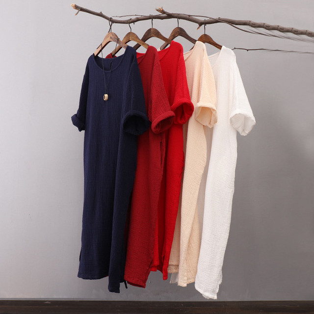 US $17.28 |Original vintage loose solid colors cotton linen dress ,plus  size large size dresses,Maxi Long Dress,4XL 5XL 6XL WOMEN clothes-in  Dresses ...