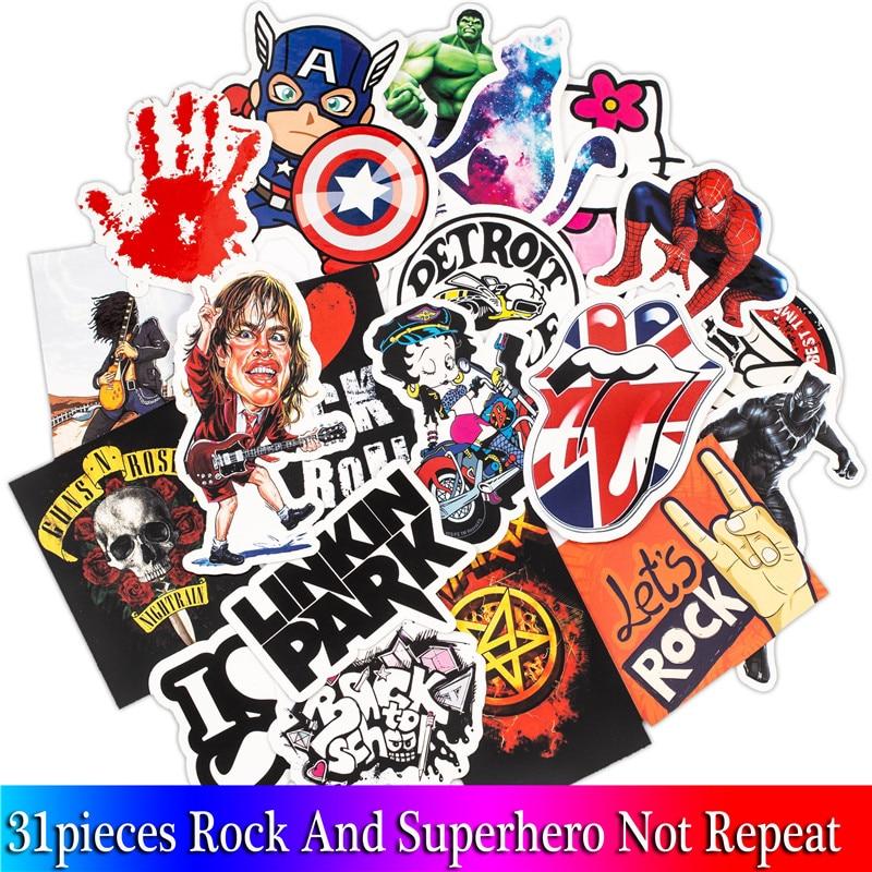 31PCS Mixed Rock Stickers Movie Graffiti Hero Sticker For DIY Skateboard Luggage Laptop Motorcycle Phone Waterproof Sticker все цены