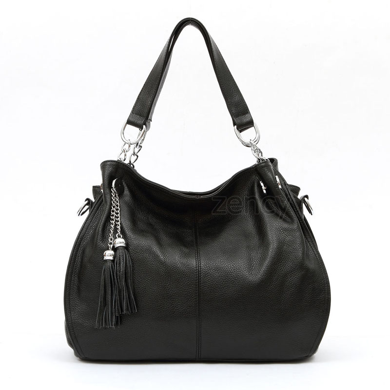 Classic Brand Fashion Tassel 100% Genuine Leather Women Hobo Handbag Ladies Shoulder Messenger Crossbody Bag Tote Purse Satchel women fashion tassel pu leather handbag shoulder bag small tote ladies purse comfystyle