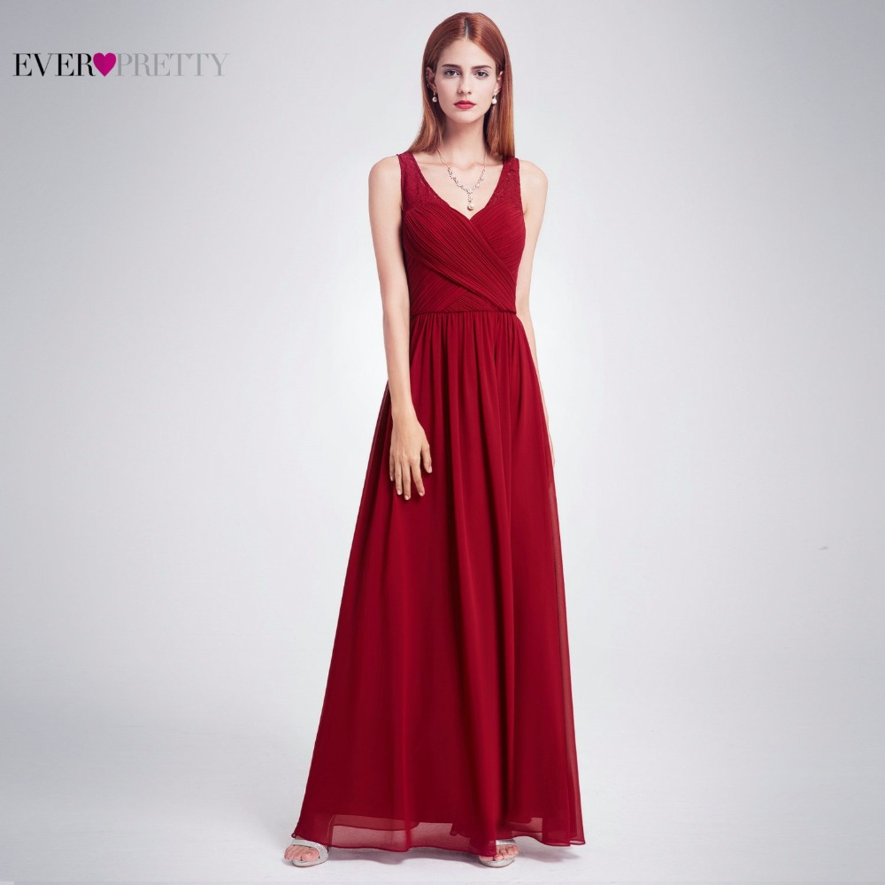 Ever Pretty Women Sexy Evening Dresses V-Neck Sleeveless Chiffon Lace Long Solid A-Line Evening Party Dress EP08871 ...