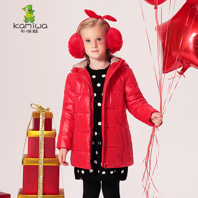 KAMIWA 2017 Hooded Baby Girls Cotton-padded Jackets Winter Light  Parkas Warm Coats Brand Kids Clothes Children's Clothing