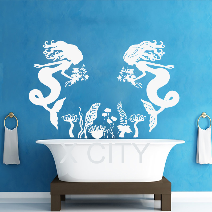 Mermaid sticker wall decals vinyl for bathroom window nursery girl mermaid sticker wall decals vinyl for bathroom window nursery girl bedroom home decor dorm interior room art murals in wall stickers from home garden on amipublicfo Choice Image