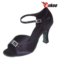 Evkoo Dance Sexy Black Leopard Tan Color Satin With Crystal Buckle Woman Latin Salsa Dance Shoes