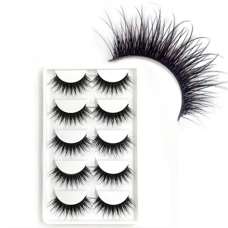 YOKPN 5 Pairs Thick Cross False Eyelashes Handmade Stage Makeup Fake Eye Lashes Natural Big Eyes Long Eyelashes Extension Tools