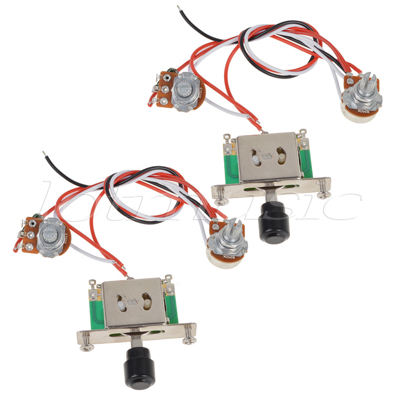 2sets prewired guitar wiring harness 500k pots 3 way switch for fender guitar replacement in. Black Bedroom Furniture Sets. Home Design Ideas