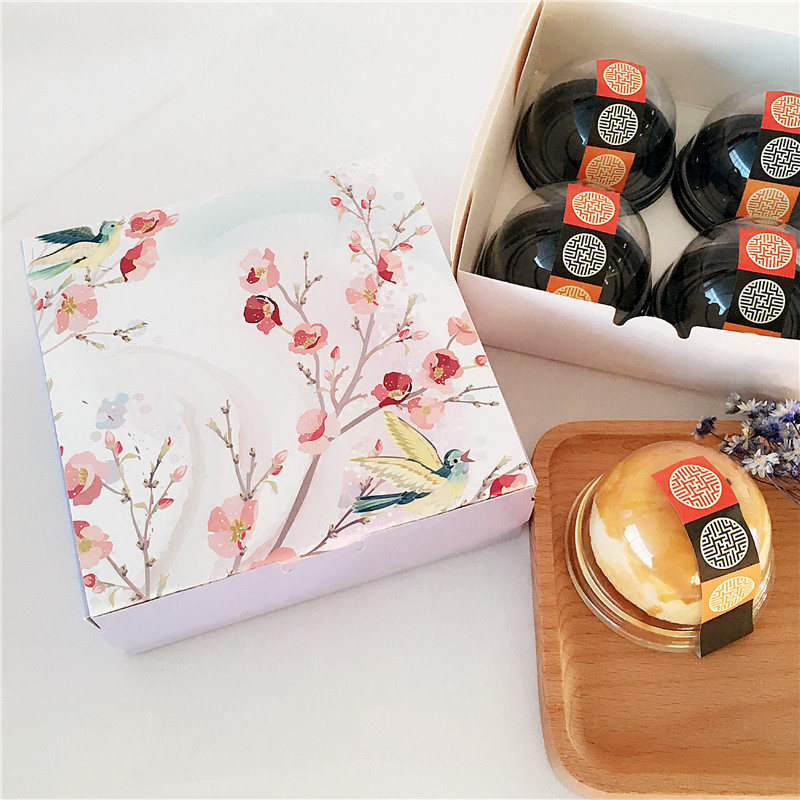 14.2*14.2*5cm 10pcs singing bird design cookie Macaron Chocolate Paper Box Storage Boxes ...