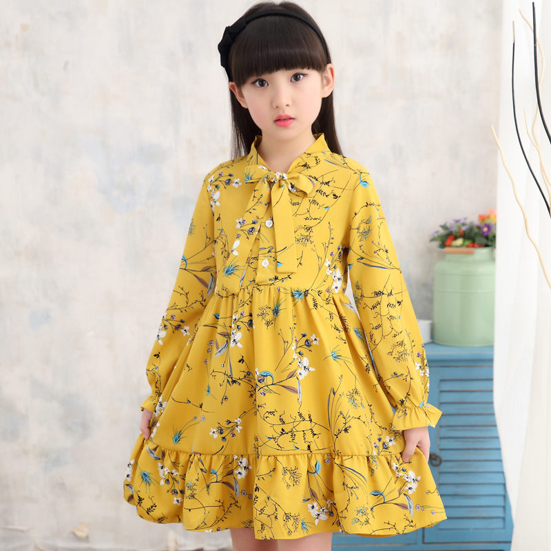 2018 New Girls Dress Baby Girl Floral Print Princess Dresses Kids Clothes Party Dress Elegent Dresses For Girls Costume 12 13 14 baby girls dress rose floral a line princess dress girls european style baby girl clothes kids clothes 2 10y flower girl dresses