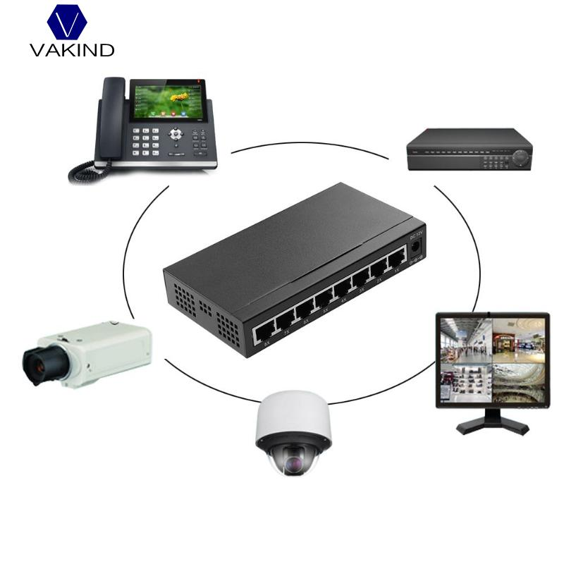 VAKIND NEW Network 8 Ports Gigabit Switch 10/100/1000 Ethernet Network Lan RJ45 Switcher Hub Full/Half Duplex Exchange With Plug 10 100mbps 16 ports fast ethernet lan rj45 network switch hub rj45 cable distributor with lightning protection eu us plug