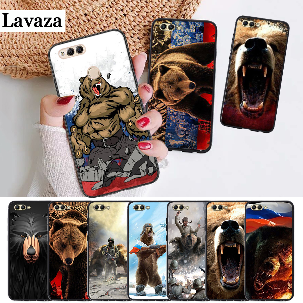 Russia black bear Silicone <font><b>Case</b></font> for Huawei <font><b>honor</b></font> 6A 7A Pro 7X <font><b>8</b></font> Lite 8A 8X 8C 9 Note 10 View 20 20S 9X image