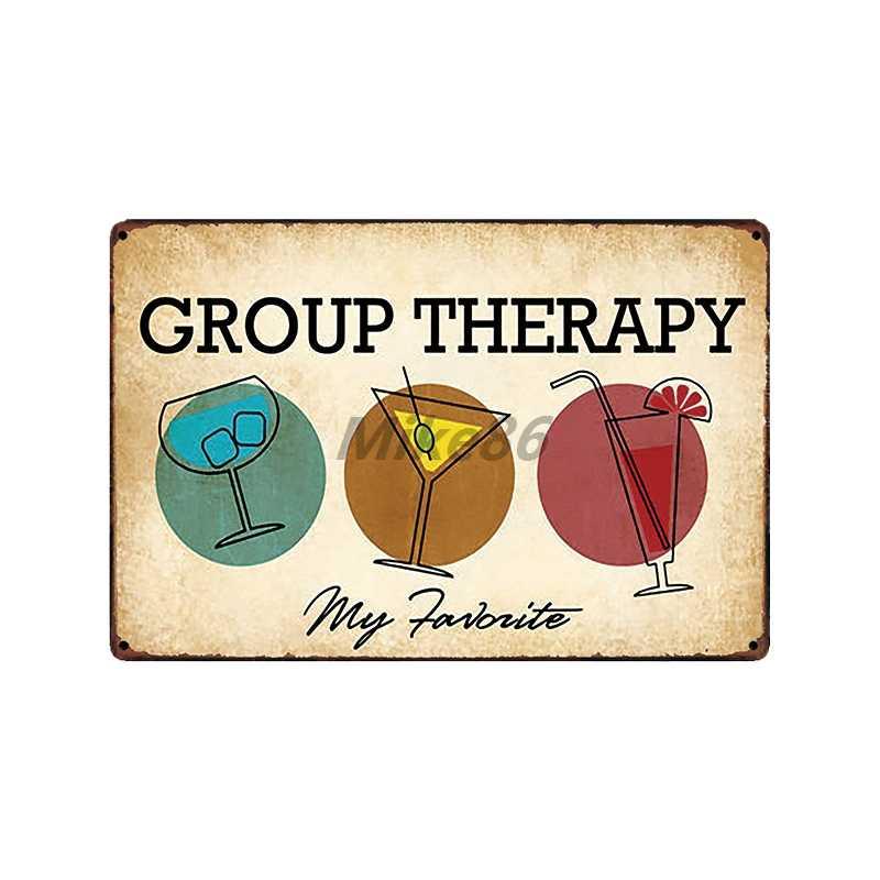 [Mike86] cerveza GROUP, terapia sin trabajo, para hombre, cueva, divertido letrero de estaño, vino Vintage, casa, Pub, arte de pared de metal, Póster Artístico, FG-502 de 20*30 CM