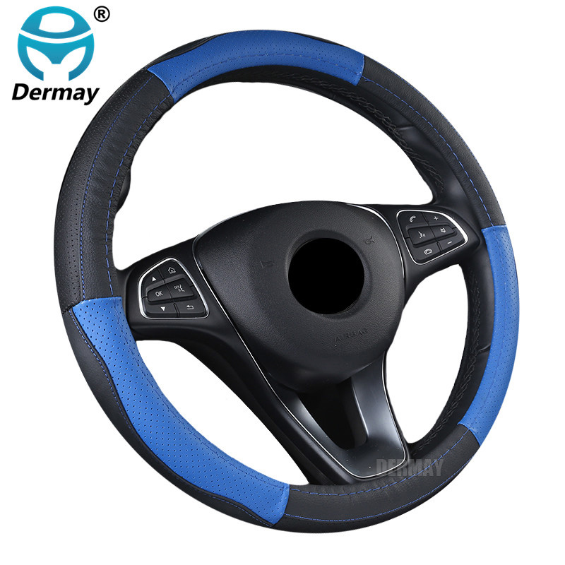 DERMAY Genuine Leather Steering Wheel Cover 5Colors Size M fit outer Diameter 37-38cm Standard Steering Wheel Free shipping