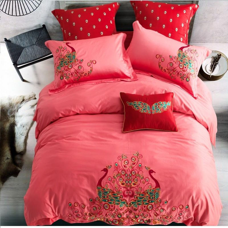 100%Cotton Dark Red Peacocks Embroidery Bedding Set Lace Duvet Cover Bed sheet Pillowcase Bed Linen Bedclothes King Queen 4pcs