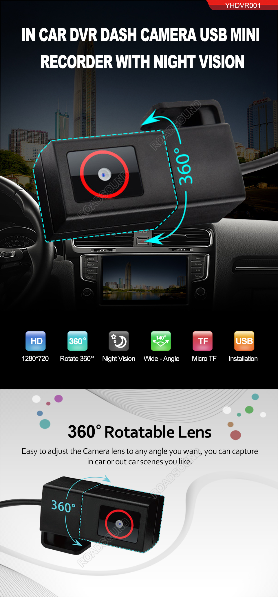 XTRONS Full HD 1080P Car DVR Road Video Recorder Dash Camera Car Driving Recorder with 140/° Wide Angle Loop Recording