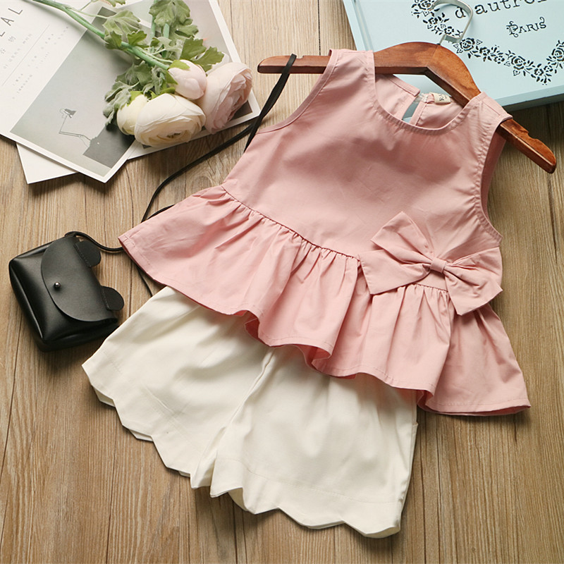 2017 summer baby girls clothing set 2 pieces bow cute kids costume
