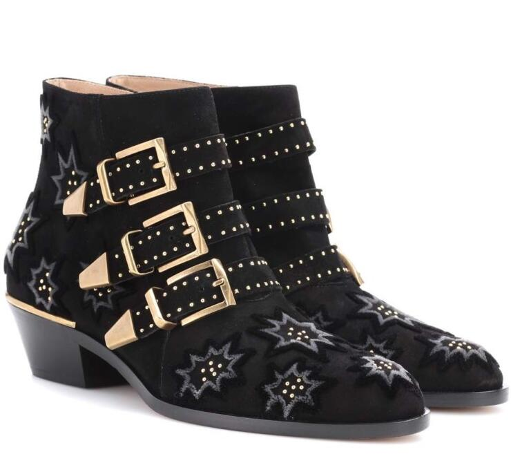 Drop Shipping Autumn Newest Black Velvet Rivets Studded Ankle Boots 2018 Pointed Toe Buckle Strap Riding Boots Thick Heels Boots
