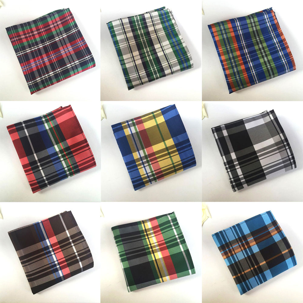 Men British font b Tartan b font Plaid Grids Polyester Hanky Pocket Square Colorful HZTIE0032