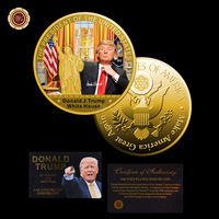 24k Gold Plated Gold Coin Donald Trump and White House Commemorative Coin Gifts for The New Year 2017 Metal Crafts