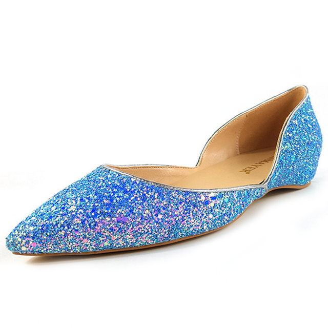 358e8145012 ENMAYER Women Flats Loafers Dress Shoes Glitter Pointed Toe Slip-on Bling  Shallow Solid All-match Leisure Blue Sweet Plus Size