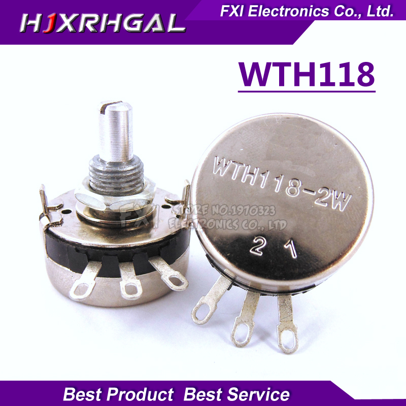 Electronic Components & Supplies Passive Components 5pcs Wth118 2w 1a Potentiometer 1k 2.2k 4.7k 10k 22k 47k 100k 470k 1m Wth118-2w Round Shaft Carbon Rotary Taper Potentiometer
