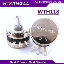 5PCS WTH118 2W 1A Potentiometer 1K 2.2K 4.7K 10K 22K 47K 100K 470K 1M WTH118-2W Round Shaft Carbon Rotary Taper Potentiometer
