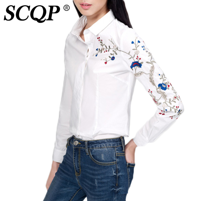 Aliexpress.com : Buy Bird Embroidery Ladies White Shirts Floral ...