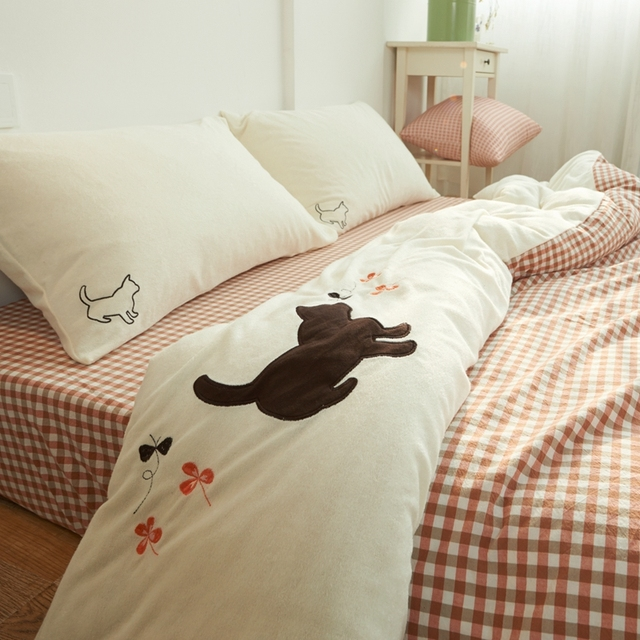 100 Washed Cotton 4 Pieces Cute Kitten Bedding Sets Bed Sheets Ed Style Brief Anese Cat Embroidery Printed