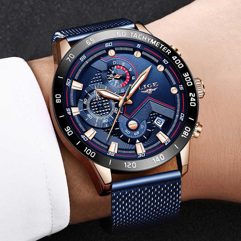 אופנה Mens שעון ליגע מותג יוקרה רשת פלדה כחול קוורץ שעון Mens מזדמן ספורט עמיד למים הכרונוגרף Relogio Masculino + תיבה