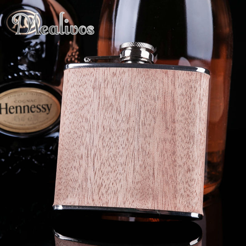 Venta caliente 6 oz envuelto en madera 304 # frasco de cadera de acero inoxidable licor personalizado flagon whisky vodka ron alcohol matraz regalo