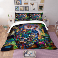 Owl Bedding Set Colourful Animal Duvet Cover Quilt Cover Pillow Cases Twin Full Queen King UK Double Size 3D Cartoon Bed Cover