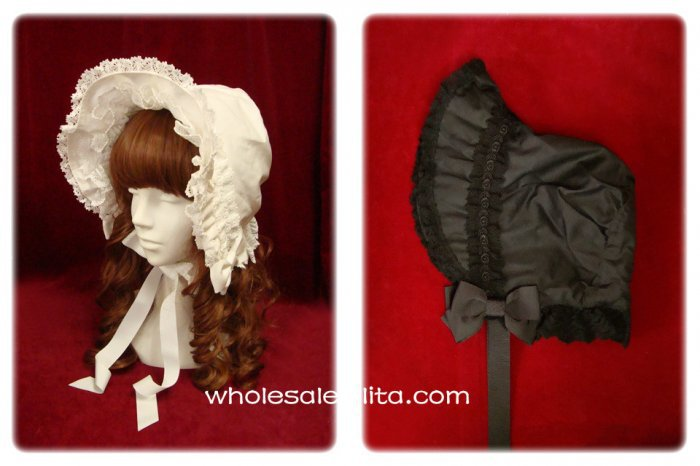 Pure White Victorian Era Bonnets Lolita Headdress Head Wear