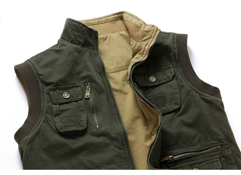M~3XL 2015 Autumn Spring Reversible Casual Men Vest Coat AFS JEEP Cotton Pocket Cargo Outdoor Sleeveless Jackets Waistcoat Vests (12)