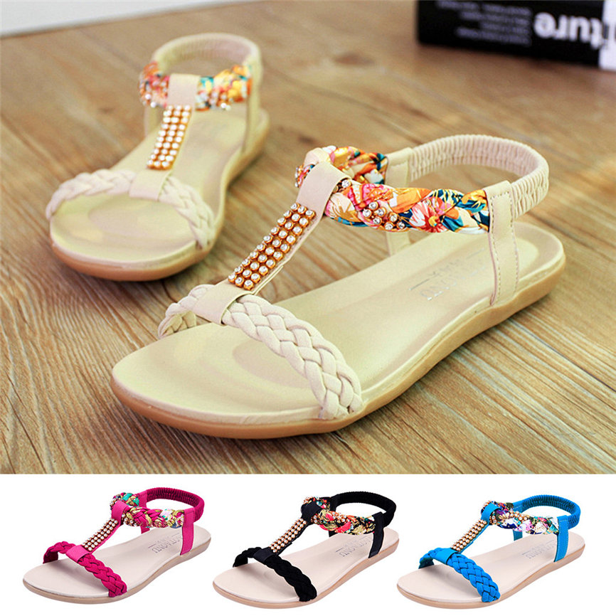 Shoes Sandals Crystal Fashionl-Style Women Ladies Casual for Girls -4 Loafers