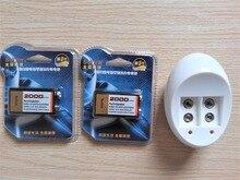2 шт. Большой емкости 2000 МАЧ 9 вольт Ni-Mh аккумулятор + Универсальный 9 В ЕС зарядное устройство