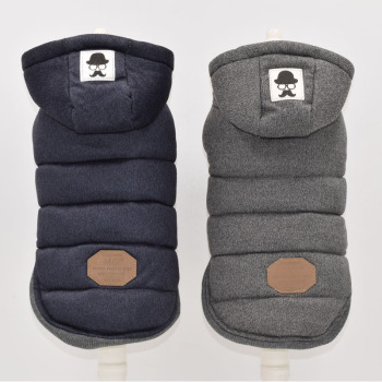 Two Feet Winter Dog Clothes Blue Grey Color S-xxl Size For Choice Super Warm And Soft Cotton Padded Dog Winter Pet Dog Jacket