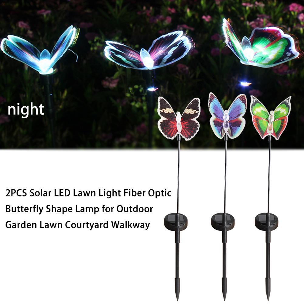 2PCS Solar LED Lawn Light Fiber Optic Butterfly Shape Lamp For Outdoor  Garden Lawn Courtyard Walkway