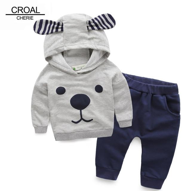 80-115cm Cute Bear Kids Boy Girl Clothing Set Children Clothes Set Casual Cartoon Hooded Sweatshirt Boys Hoodies +pants