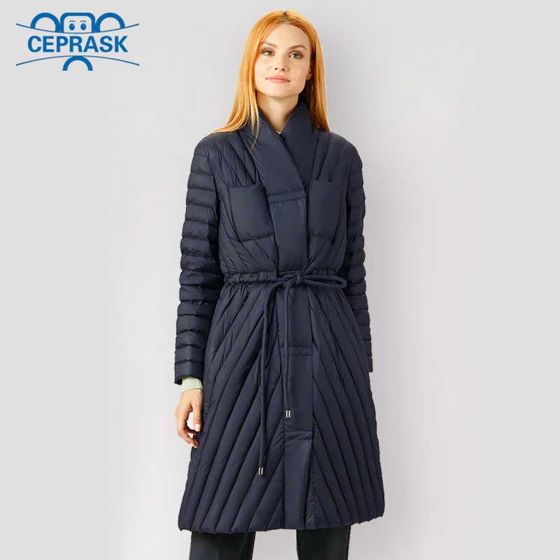 CEPRASK 2020 고품질 봄 가을 얇은 파카 여성 방풍 여성 코트 롱 플러스 사이즈 벨트 코튼 자켓 New