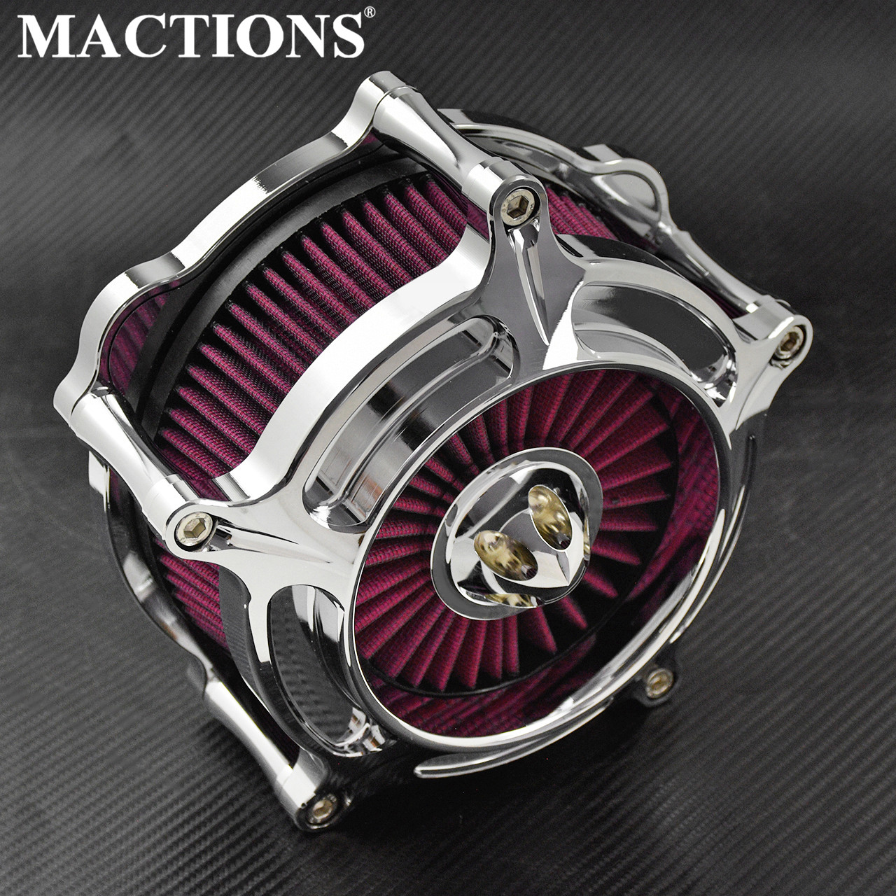 MACTIONS Motorcycle Chrome Air Cleaner Air Filter For Harley Touring Street Road Glide Sportster 1200 883