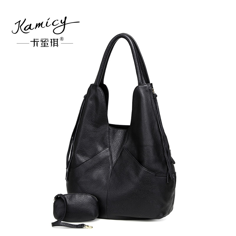 20a92672e5 kamicy Large capacity 2018 new hot leather handbag fashionable women s  single shoulder bag leisure and simple new moon bag